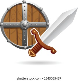 Vector cartoon illustration of a wood and metal medieval shield with a steel one-handed sword isolated on a white background. Themes: Middle Ages, Ancient times, sword and sorcery fantasy, adventure.