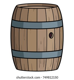 vector cartoon illustration of a wooden barrel with iron hoops