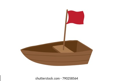 Vector cartoon illustration of wooden boat with red flag isolated against white background