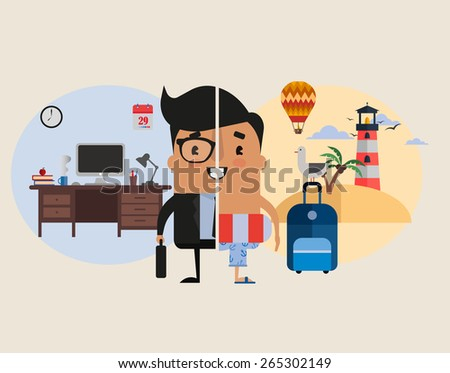 Vector Cartoon Illustration: Work and Vacation