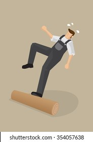 Vector cartoon illustration of a worker stepping on a log, losing balance and falling backwards isolated on plain background.