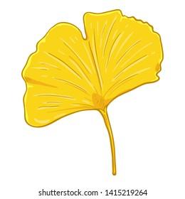 Vector Cartoon Illustration - Yellow Leaf of Ginkgo Tree