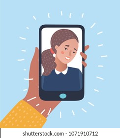 Vector cartoon illustration of Young beautiful Smiling girl on display smartphone. Human hand holding mobile phone and looking at the screen. Chat, Video call, self portrait.