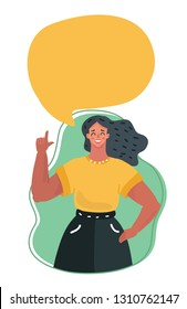 Vector cartoon illustration of young beautiful girl talking something. Speech bubble above. Index finger up.