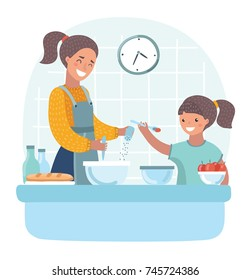 Vector cartoon illustration of young beautiful mother teaches daughter to cook in the kitchen.