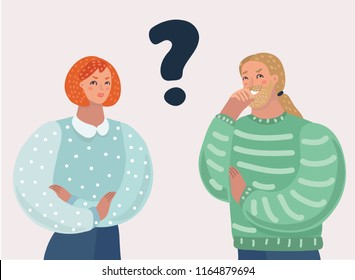 Vector cartoon illustration of young couple person with a question. Man and woman faces a choice. Modern human caracters on isolated bacground.