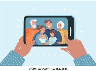 Vector cartoon illustration. Young family with 2 kids, grandmother and grandfather are having video call using the smartphone. Human hand hold device and connect online communication. Grandma, grandpa