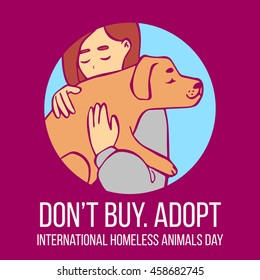 Vector cartoon illustration of young girl hugging dog. Human with dog in his hands. Hand drawn isolated objects in circle on purple background. International Homeless Animals Day. Adopt, don't buy.