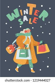 Vector cartoon illustration of Young Lady Shopping for Christmas.Woman on winter Sale. Dark bakcround and hand drawn lettering on dark background. Female character in modern style.