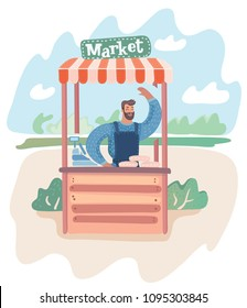 Vector cartoon illustration of young man standing at market stall. Hipster vendor with the beard waving hands. Male characters at the park landscape.