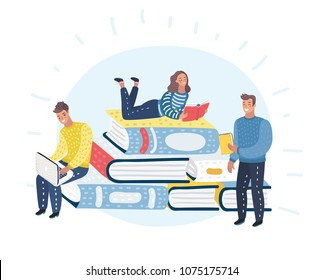 Vector cartoon illustration of Young people readers are sitting, standing, lying on stack of giant books or beside it and reading and studying. Literature fans and students.