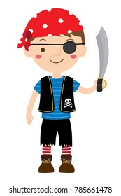 Vector cartoon illustration of young pirate boy with an eye patch holding sword isolated on a white background