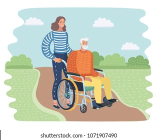 Vector cartoon illustration of young woman social worker strolling with elder Grey haired man in wheelchair. They in the park.