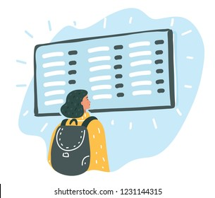Vector cartoon illustration of Young woman in international airport looking at the flight information board.