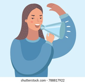 Vector cartoon illustration of young woman with loudspeaker making an announcement. Funny character on white isolated background.