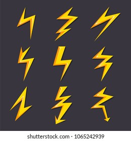 Vector cartoon illustrations of lightning set isolate. Stylized pictures for logo design. Lightning flash electric, thunder power electricity.