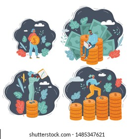 Vector cartoon illustrations set of Concept money saving. Success, financial investments, income growth, financial. Wealthy people climbs a stack of coins, coin in her hands, earns on freelance.