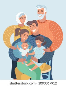 Vector cartoon ilustration of Family close up photo portrait. Mothe,r father, son, daughter, baby, grandmother, grandfather. Human character on white bacground.