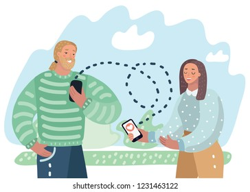 Vector cartoon ilustration of Phone conversation between a man and a woman. Character send message each other outdoor.