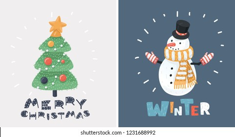 Vector cartoon ilustration of Santa and Snowman Christmas cards set.