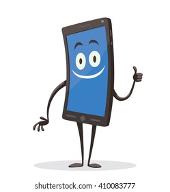 Vector cartoon image of a black smartphone with a blue screen, with arms, legs and contented expression on his face standing on a white background. Positive character. Vector illustration.