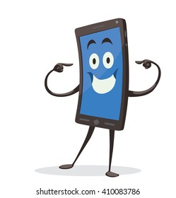 Vector cartoon image of a black smartphone with a blue screen, with arms and legs, standing and pointing the fingers at himself on a white background. Positive character. Vector illustration.