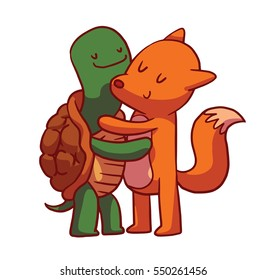 Vector cartoon image of cute animals: a green-brown turtle and a red fox standing and hugging on a white background. Friendship, love. Hugging animals. Vector illustration.
