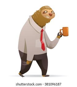 Vector cartoon image of a cute brown sloth. Cartoon sloth in a black trousers, white shirt and red tie. Sloth hold an orange mug. Cartoon parody. Cartoon sloth office worker. Vector illustration.
