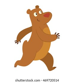 Vector cartoon image of a cute brown bear walking somewhere and smiling on a white background.