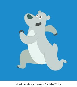 Vector cartoon image of a cute polar bear running somewhere and smiling on a blue background.