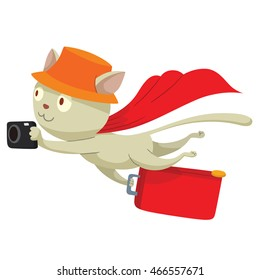 Vector cartoon image of a cute white cat-tourist in orange panama hat and red cloak with black camera and red suitcase in his paws flying on a white background. Vector illustration of a cat-traveler.