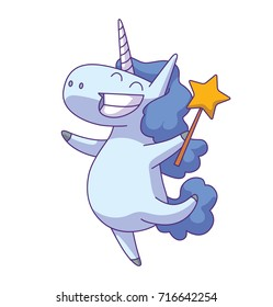 Vector cartoon image of a cute white happy unicorn with a wavy blue mane and tail standing with a magic wand in hoof and smiling on a white background. Animals, legend, fairy tale. Vector illustration