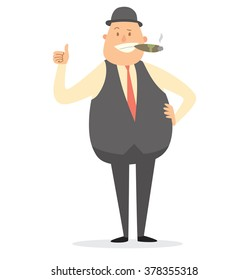 Vector cartoon image of a fat businessman in gray bowler hat, trousers, vest, white shirt and red tie with cigar in mouth, showing thumb on white background. Business illustration. Vector illustration