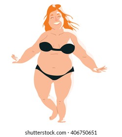 Vector cartoon image of a fat woman on the beach with long ginger hair in black swimsuit standing and smiling on a white background. Holidays, vacation, beach. Vector illustration.
