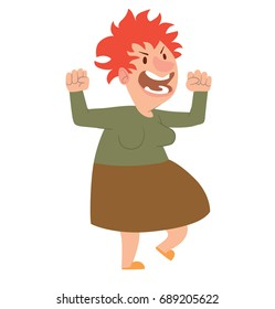 Vector cartoon image of a funny angry old woman with red hair in a brown skirt and green blouse standing and screaming at someone on a white background. Retired, elderly. Vector illustration.
