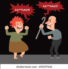 Vector cartoon image of a funny angry old woman with red hair and funny angry bald old man with a cane in his hand standing and screaming at each other on a black background. Retired, elderly.