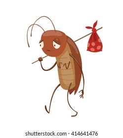 Vector cartoon image of funny brown cockroach with antennae and six legs walking with a knapsack on a stick behind his back on white background. Anthropomorphic cartoon cockroach. Vector illustration.