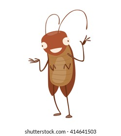 Vector cartoon image of a funny brown cockroach with antennae and six legs standing and smiling on a white background. Anthropomorphic cartoon cockroach. Vector illustration.