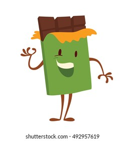 Vector cartoon image of funny brown bar of chocolate in green wrapper, standing and smiling on a white background. Sweets, happiness, childhood. Vector illustration. Chocolate.