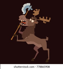 Vector cartoon image of a funny brown heraldic moose standing on hind hooves with an axe in the hooves on a dark background. Coat of arms, heraldry, emblem, symbol. Color image. Vector illustration.