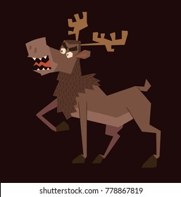 Vector cartoon image of a funny brown heraldic moose standing turn left on a dark background. Coat of arms, heraldry, emblem, symbol. Color image. Vector illustration.