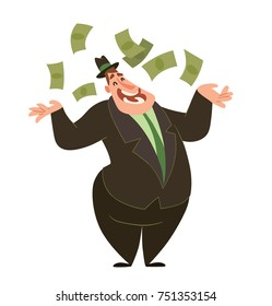 Vector cartoon image of a funny fat man capitalist in a black suit and hat standing, throwing money around and smiling on a white background. Business, finance, monopoly, money.