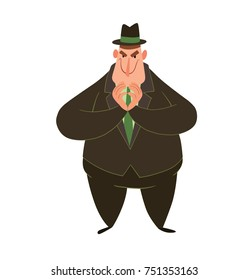 Vector cartoon image of a funny fat man capitalist in a black suit and hat standing and thinking something ominous on a white background. Business, finance, monopoly, money.