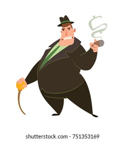 Vector cartoon image of a funny fat man capitalist in a black suit and hat standing with a cigar and a cane in his hands on a white background. Business, finance, monopoly, money.