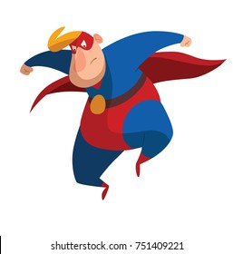 Vector cartoon image of a funny fat superhero in a red-blue suit, a cloak and a red mask, resolutely jumping on a white background. Superhero, savior, comic, hero. Vector illustration.