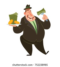 Vector cartoon image of a funny fat man capitalist in a black suit and hat standing and eating money with a plate and fork in hands on a white background. Business, finance, monopoly, money.