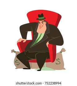 Vector cartoon image of a funny fat man capitalist in a black suit and hat sitting in a big red chair with bags of money next to on a white background. Business, finance, monopoly, money.