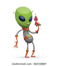 Vector cartoon image of funny green alien with big eyes and a small antennas on his head in gray-orange spacesuit, standing with a laser gun in his hand on a white background. Vector illustration.