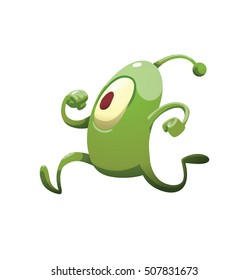 Vector cartoon image of funny green microbe with one big eye, with an antenna, with arms and legs, running somewhere on a white background. Positive character. Creature. Vector illustration.
