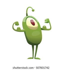 Vector cartoon image of funny green microbe with one big eye, with an antenna, with arms and legs, standing, showing muscles on a white background. Positive character. Creature. Vector illustration.